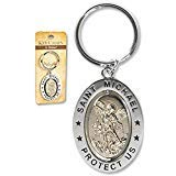 "Religious Gifts Saint St Michael 3 1/4"" Zinc Alloy Silver Plate Revolving Dual Tone Key Ring with Prayer"