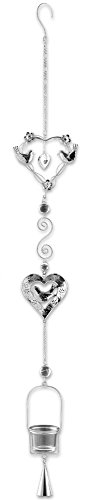 BANBERRY DESIGNS Hanging Glass Candle Holder Chimes - Birds and Heart Shape Design - Silver Filigree with a Glass Votive Candle Holder - Hanging Garden Decor - 40 Inch High