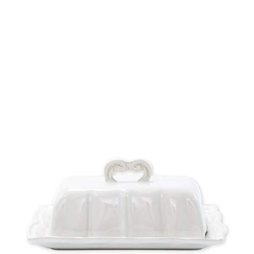- Vietri Incanto Stone White Baroque Butter Dish