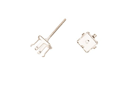 4-Prong Diamond Snap-On Ear Stud Silver Plated Brass Fits 6mm Cabochons And Crystal With Surgical Stainless Steel Pin 6X6mm sold per 10pcs ()