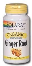 Supplément racine Solaray gingembre biologique, 540 mg, 100 comte