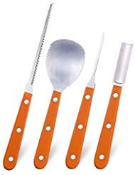 4 Pieces Halloween Pumpkin Carving Kit with 20 Pumpkin Carving Stencils, Stainless Steel Pumpkin Carving Tools kit
