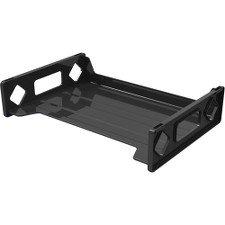 Deflect-o Single Self Stacking Legal Tray - Desktop Shelf - Plastic - Black (Trays Self Stacking Desk Legal)
