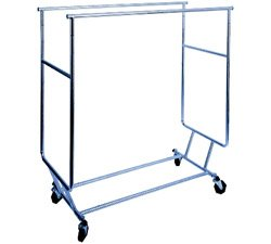 Double-Bar Commercial Grade Collapsible Rolling Garment Clothing Rack Metro Fixture & Display MC240033