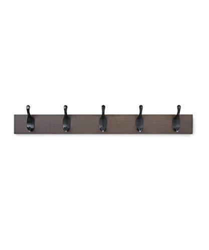 AmazonBasics Wall Mounted Modern Coat Rack, 5 Hooks, Espresso