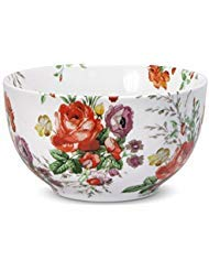 Katie Alice Scarlet Posey Cereal Bowl, 6-Inch, White Floral