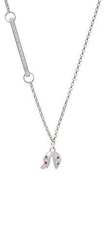 Multicolored Crystal Fortune Cookie Custom Engraved Delicate Bar Necklace