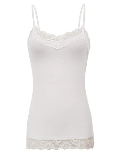 Sexy Women's Comfy Spaghetti Straps Lace Trimmed Rayon Cami Tops (L,Ivory)