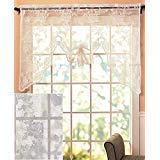 (The Lakeside Collection Abbey Rose Floral Lace Curtain (White, Swag Valance))