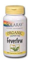 Solaray Organic Feverfew Leaf Supplement, 455 mg, 100 Count