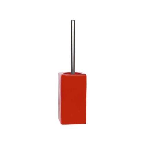 Spirella - Portascopino per wc Quadro in gres porcellanato, 11,5x45 cm, colore: Rosso 10.13648