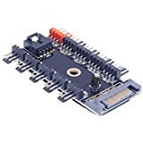 Sata Pcb Controller Board (NOYITO 10-Channel PC FAN PWM HUB DC12V SATA Port Power Supply Maximum Support 10-Channel PWM Fan Temperature Control Suitable for Motherboard 3Pin / 4Pin fan)