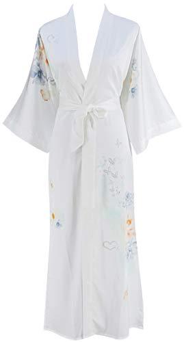 (Ledamon Women's Silk Satin Kimono Long Robe - Classic Floral Nightgown Bathrobe Sleepwear (White))