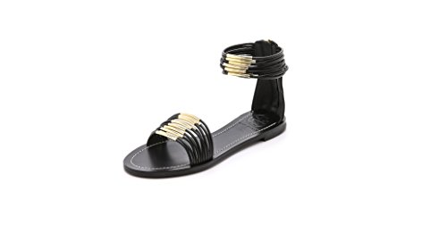 Tory Burch Mignon Rings Leather Flat Sandal (Black/Gold) - Size ()