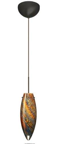 Besa Lighting 1XC-4096CE-BR 1X50W Gy6.35 Juliette Pendant with Ceylon Glass, Bronze Finish