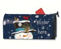 Snowman Winter is Here Mailbox Cover #01258