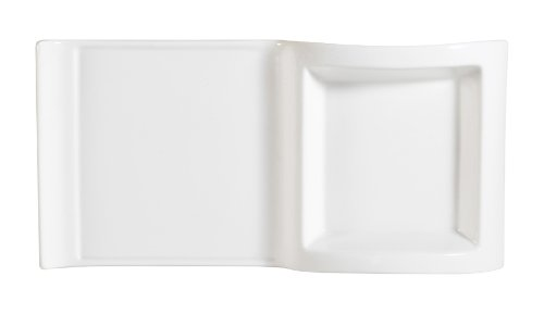 CAC China PLT-10 Accessories 10-Inch by 5-Inch by 1-1/2-Inch 12-Ounce New Bone White Porcelain Rectangular Platter with Square Holder, Box of 12
