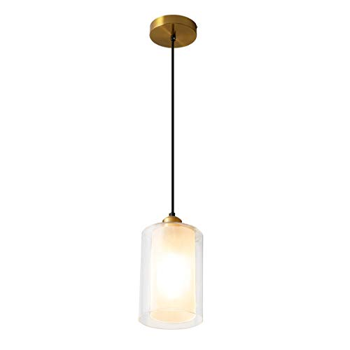 ShengQing Modern Mini Pendant Light with Clear and Frosted Glass 1-Light Cylindrical Kitchen Island Pendant Lighting Fixture, Brushed Brass Finish