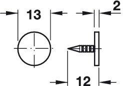 Gedotec Druckschn/äpper Push-to-Open Anschlagpuffer T/ürd/ämpfer zum Einbohren mit Gummi-Puffer 2 St/ück mit Gegenplatte Langversion grau T/ür-Schnapper mit Aussto/ßweg 38 mm