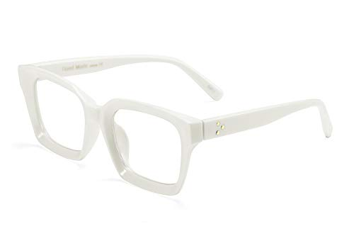 FEISEDY Classic Oprah Square Large Eyewear Non-prescription Thick Glasses Frame for Women B2461 (White, -