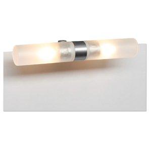 Badezimmerleuchte Spiegelklemmleuchte Metall Eisen Natur Glas Satiniert  (mit Klemmbefestigung Bis 7mm) Leuchtmittel Inkl.