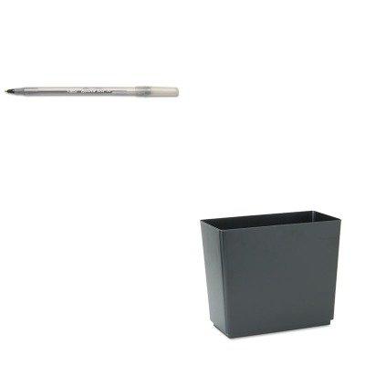 KITBICGSM11BKRCP25051 - Value Kit - Rubbermaid Designer 2 Wastebasket (RCP25051) and BIC Round Stic Ballpoint Stick Pen (BICGSM11BK)