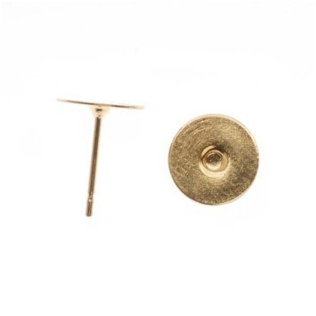 Gold Plated Flat 10mm Glue on Earring Posts 20 Pieces (10 (10 Mm Flat Glue)