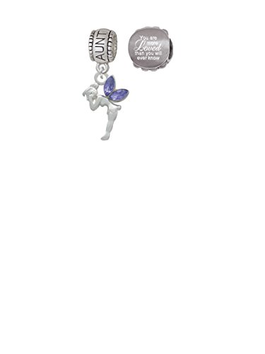 Delight Jewelry Small Fairy with Purple Wings Aunt Charm Bead with You are More Loved Bead (Set of 2)