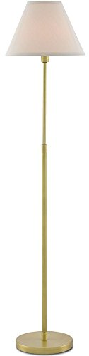 Currey and Company 8000-0011 Dain - One Light Floor Lamp, Antique Brass Finish with Off White Shantung Shade