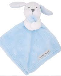 - Blankets and Beyond Blue & White Bunny Baby Security Blanket Plush