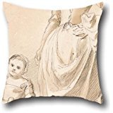[Oil Painting Paul Sandby - Woman And Child Holding A Doll Pillowcase 16 X 16 Inches / 40 By 40 Cm Gift Or Decor For Bedroom,drawing Room,him,teens Girls,sofa,him - Each] (Simple Nursery Rhyme Costumes)