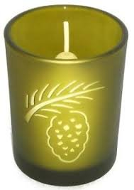 (Partylite Pinecone Votive Holder, Frosted Green Glass)