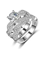 White Gold-Plated Wedding Ring Studded with Zircon Stones