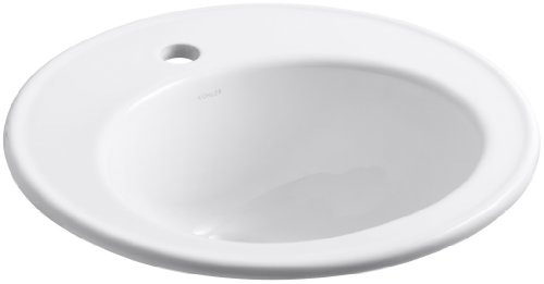 KOHLER K-2202-1-0 Brookline Self-Rimming Bathroom Sink, White ()