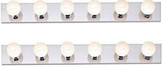 Dysmio Lighting Six Light Vanity Strip Hollywood Style Mirror Fixture With Chrome Plates Salon Grade Accessories For Bedroom Bathroom Dressing Room Makeup Studio 36 X 4 25 Inches Set Of 2 Amazon Com