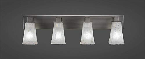 Toltec Lighting 584-GP-631 Apollo - Four Light Bath Bar, Graphite Finish with Square Frosted Crystal Glass
