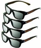 ED 4 Pack CINEMA 3D GLASSES For LG 3D TVs – Adult Sized Passive Circular Polarized 3D Glasses