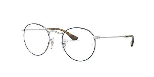 Silver Metal Eyeglasses - Ray-Ban Men's RX3447V Round Metal Eyeglasses Silver On Top Blue 50mm