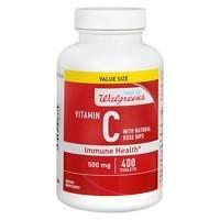 Walgreens Vitamin C with Natural Rose Hips Immune Health 500mg, Tablets, 400 ea (C Vitamin Walgreens)