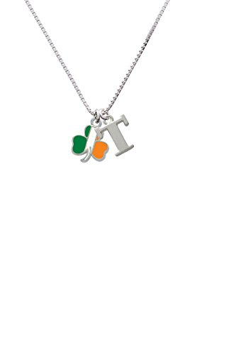 Delight Jewelry 2-D Irish Flag Shamrock - Capital -T- Initial Necklace