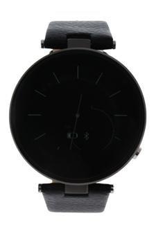 EK-E1 Montre Connectee Black Leather Strap Smart Watch