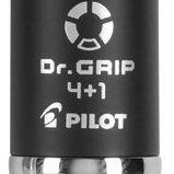 Pilot Dr. Grip 4+1 Multifunction Ballpoint Pen + Pencil, Assorted Color Inks, Black Barrel, 1-Pack (36220)