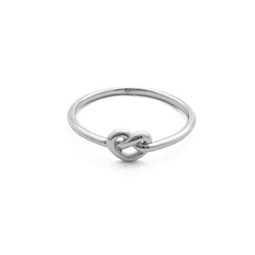 HONEYCAT Love Heart Knot Ring in 24k Gold Plate, 18k Rose Gold Plate | Minimalist, Delicate Jewelry (Silver)