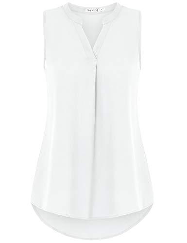Lyking Women's Henley V Neck Sleeveless Curved Hem Chiffon Blouse Shirts Tank Tops(XL,White)