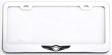 Auggies Chrome Silver Genesis Sport Coupe 4 Door Stainless Steel License Plate Frame Cover Holder Rust Free with Caps and Screws (1)