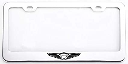 Auggies Chrome Silver Genesis Sport Coupe 4 Door Stainless Steel License Plate Frame Cover Holder Rust Free with Caps and Screws 2