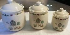 - Thomson Pottery Birdhouse 3 Piece Canister Set (no gasket) ~Heart & Vine Border, Birdhouse Center ~ Discontinued 2006
