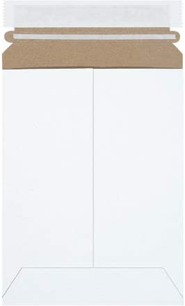 """6 """" x 8"""" Stay Flat Mailers, Self-Seal, White, Strong Chipboard, Protect Photos & Documents (Pack of 100)"""