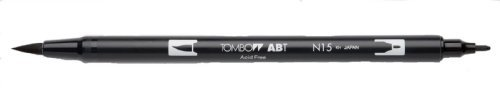 Tombow Dual Brush Pen, Black (66621) Pack of 6 pcs. Tombow Permanent Pen