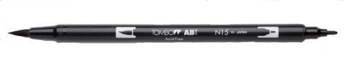 Tombow Dual Brush Pen, Black (66621) Pack of 6 pcs. Tombow Permanent Pen